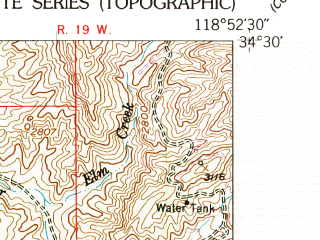 Reduced fragment of topographic map en--usgs--024k--015262--(1951)--N034-30-00_W119-00-00--N034-22-30_W118-52-30; towns and cities Fillmore