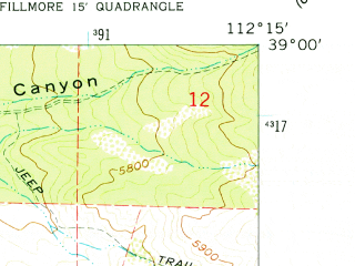 Reduced fragment of topographic map en--usgs--024k--015264--(1961)--N039-00-00_W112-22-30--N038-52-30_W112-15-00; towns and cities Fillmore
