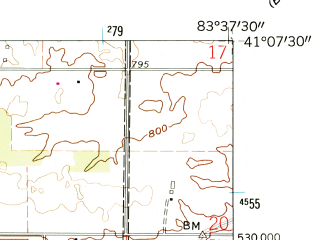 Reduced fragment of topographic map en--usgs--024k--015271--(1960)--N041-07-30_W083-45-00--N041-00-00_W083-37-30; towns and cities Findlay