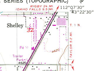 Reduced fragment of topographic map en--usgs--024k--015324--(1955)--N043-22-30_W112-15-00--N043-15-00_W112-07-30; towns and cities Basalt, Firth