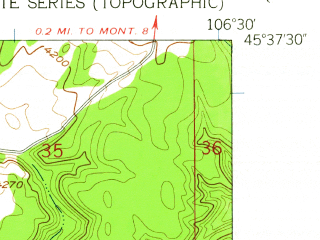 Reduced fragment of topographic map en--usgs--024k--015358--(1958)--N045-37-30_W106-37-30--N045-30-00_W106-30-00; towns and cities Lame Deer