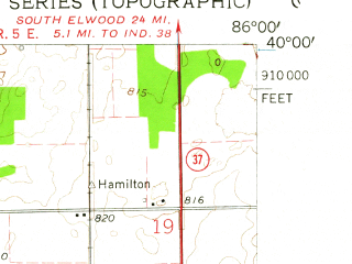 Reduced fragment of topographic map en--usgs--024k--015365--(1959)--N040-00-00_W086-07-30--N039-52-30_W086-00-00; towns and cities Carmel, Fishers, Castleton