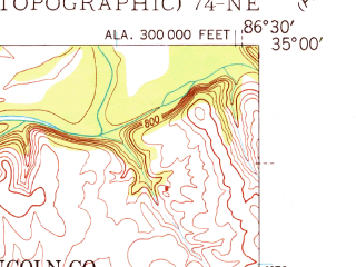 Reduced fragment of topographic map en--usgs--024k--015376--(1948)--N035-00-00_W086-37-30--N034-52-30_W086-30-00; towns and cities Hazel Green