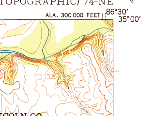 Reduced fragment of topographic map en--usgs--024k--015376--(1951)--N035-00-00_W086-37-30--N034-52-30_W086-30-00; towns and cities Hazel Green