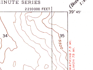 Reduced fragment of topographic map en--usgs--024k--015394--(1948)--N039-45-00_W104-52-30--N039-37-30_W104-45-00; towns and cities Aurora