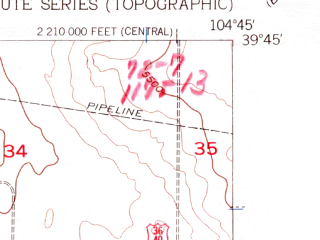 Reduced fragment of topographic map en--usgs--024k--015394--(1957)--N039-45-00_W104-52-30--N039-37-30_W104-45-00; towns and cities Aurora
