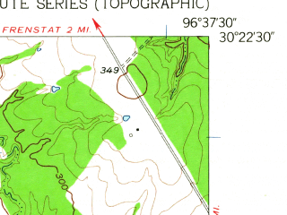 Reduced fragment of topographic map en--usgs--024k--015436--(1959)--N030-22-30_W096-45-00--N030-15-00_W096-37-30