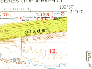 Reduced fragment of topographic map en--usgs--024k--015463--(1952)--N041-00-00_W109-37-30--N040-52-30_W109-30-00