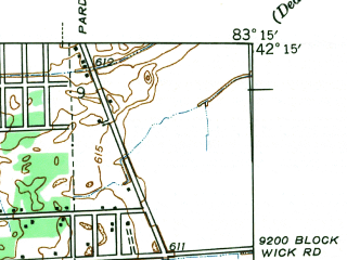 Reduced fragment of topographic map en--usgs--024k--015501--(1942)--N042-15-00_W083-22-30--N042-07-30_W083-15-00; towns and cities Taylor, Romulus