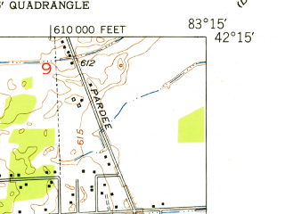 Reduced fragment of topographic map en--usgs--024k--015501--(1952)--N042-15-00_W083-22-30--N042-07-30_W083-15-00; towns and cities Taylor, Romulus