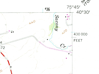 Reduced fragment of topographic map en--usgs--024k--015537--(1956)--N040-30-00_W075-52-30--N040-22-30_W075-45-00; towns and cities Fleetwood, Lyons