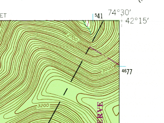Reduced fragment of topographic map en--usgs--024k--015538--(1945)--N042-15-00_W074-37-30--N042-07-30_W074-30-00; towns and cities Fleischmanns