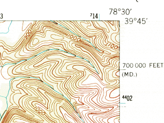 Reduced fragment of topographic map en--usgs--024k--015564--(1950)--N039-45-00_W078-37-30--N039-37-30_W078-30-00