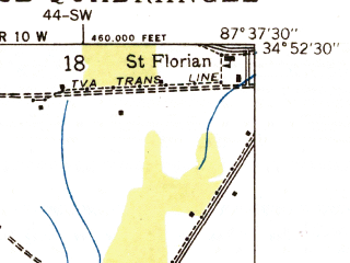 Reduced fragment of topographic map en--usgs--024k--015596--(1936)--N034-52-30_W087-45-00--N034-45-00_W087-37-30; towns and cities Florence, Sheffield