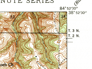 Reduced fragment of topographic map en--usgs--024k--015597--(1943)--N038-52-30_W085-00-00--N038-45-00_W084-52-30; towns and cities Warsaw
