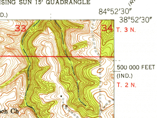 Reduced fragment of topographic map en--usgs--024k--015597--(1951)--N038-52-30_W085-00-00--N038-45-00_W084-52-30; towns and cities Warsaw
