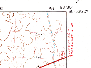 Reduced fragment of topographic map en--usgs--024k--015598--(1961)--N039-52-30_W083-37-30--N039-45-00_W083-30-00