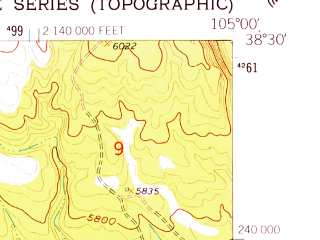 Reduced fragment of topographic map en--usgs--024k--015603--(1959)--N038-30-00_W105-07-30--N038-22-30_W105-00-00; towns and cities Florence, Penrose