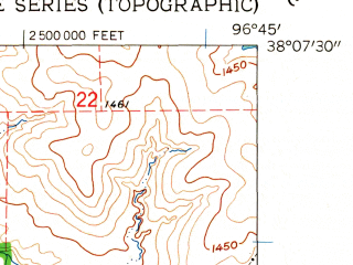Reduced fragment of topographic map en--usgs--024k--015614--(1962)--N038-07-30_W096-52-30--N038-00-00_W096-45-00