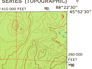 Reduced fragment of topographic map en--usgs--024k--015617--(1962)--N045-52-30_W088-30-00--N045-45-00_W088-22-30