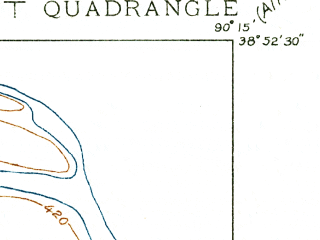 Reduced fragment of topographic map en--usgs--024k--015638--(1935)--N038-52-30_W090-22-30--N038-45-00_W090-15-00; towns and cities Florissant, Hazelwood, Dellwood, Black Jack, Calverton Park