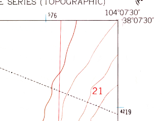 Reduced fragment of topographic map en--usgs--024k--015675--(1959)--N038-07-30_W104-15-00--N038-00-00_W104-07-30