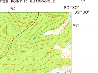 Reduced fragment of topographic map en--usgs--024k--015703--(1961)--N039-30-00_W080-37-30--N039-22-30_W080-30-00; towns and cities Smithfield