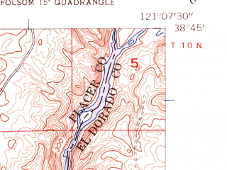 Reduced fragment of topographic map en--usgs--024k--015704--(1954)--N038-45-00_W121-15-00--N038-37-30_W121-07-30; towns and cities Fair Oaks, Folsom, Orangevale