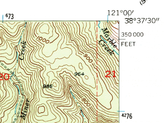 Reduced fragment of topographic map en--usgs--024k--015706--(1954)--N038-37-30_W121-07-30--N038-30-00_W121-00-00; towns and cities Rancho Murieta