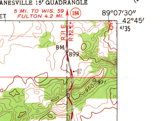 Reduced fragment of topographic map en--usgs--024k--015732--(1962)--N042-45-00_W089-15-00--N042-37-30_W089-07-30; towns and cities Footville