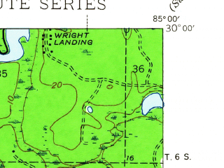 Reduced fragment of topographic map en--usgs--024k--015740--(1944)--N030-00-00_W085-07-30--N029-52-30_W085-00-00 in area of Apalachicola
