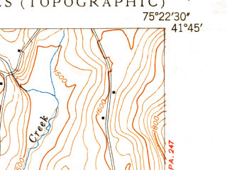 Reduced fragment of topographic map en--usgs--024k--015779--(1949)--N041-45-00_W075-30-00--N041-37-30_W075-22-30; towns and cities Union Dale, Vandling, Forest City