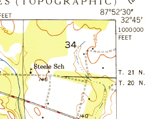 Reduced fragment of topographic map en--usgs--024k--015820--(1949)--N032-45-00_W088-00-00--N032-37-30_W087-52-30