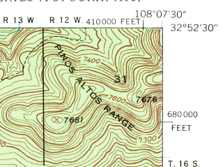 Reduced fragment of topographic map en--usgs--024k--015854--(1947)--N032-52-30_W108-15-00--N032-45-00_W108-07-30; towns and cities Bayard, Central