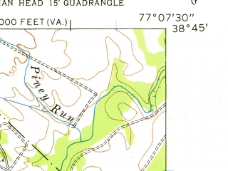 Reduced fragment of topographic map en--usgs--024k--015858--(1956)--N038-45-00_W077-15-00--N038-37-30_W077-07-30; towns and cities Lorton, Newington, Fort Belvoir