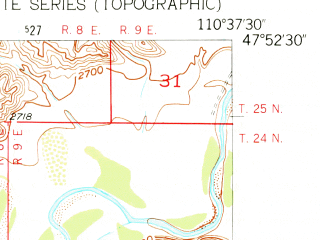 Reduced fragment of topographic map en--usgs--024k--015860--(1954)--N047-52-30_W110-45-00--N047-45-00_W110-37-30; towns and cities Fort Benton