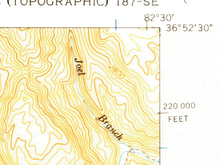 Reduced fragment of topographic map en--usgs--024k--015863--(1957)--N036-52-30_W082-37-30--N036-45-00_W082-30-00