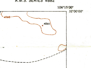 Reduced fragment of topographic map en--usgs--024k--015864--(1948)--N032-00-00_W106-22-30--N031-52-30_W106-15-00