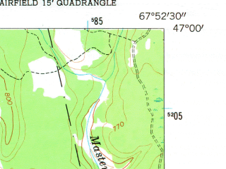 Reduced fragment of topographic map en--usgs--024k--015897--(1953)--N047-00-00_W068-00-00--N046-52-30_W067-52-30; towns and cities Loring Afb