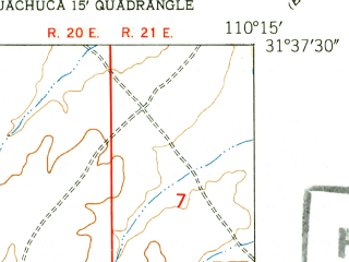Reduced fragment of topographic map en--usgs--024k--015918--(1948)--N031-37-30_W110-22-30--N031-30-00_W110-15-00; towns and cities Sierra Vista