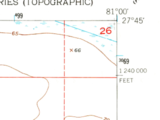 Reduced fragment of topographic map en--usgs--024k--015927--(1953)--N027-45-00_W081-07-30--N027-37-30_W081-00-00