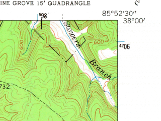 Reduced fragment of topographic map en--usgs--024k--015931--(1960)--N038-00-00_W086-00-00--N037-52-30_W085-52-30; towns and cities Fort Knox, Muldraugh, West Point