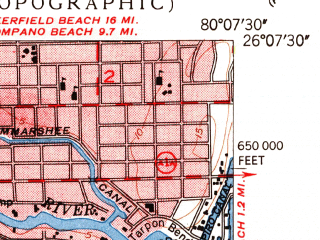 Reduced fragment of topographic map en--usgs--024k--015939--(1949)--N026-07-30_W080-15-00--N026-00-00_W080-07-30; towns and cities Hollywood, Dania, Broadview Park, Melrose Park, Riverland