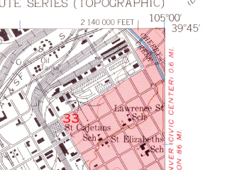 Reduced fragment of topographic map en--usgs--024k--015942--(1957)--N039-45-00_W105-07-30--N039-37-30_W105-00-00; towns and cities Lakewood, Edgewater, Sheridan