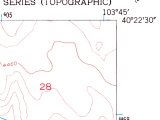 Reduced fragment of topographic map en--usgs--024k--015959--(1951)--N040-22-30_W103-52-30--N040-15-00_W103-45-00; towns and cities Fort Morgan, Log Lane Village