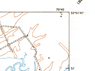 Reduced fragment of topographic map en--usgs--024k--015963--(1943)--N032-52-30_W079-52-30--N032-45-00_W079-45-00; towns and cities Mount Pleasant, Isle Of Palms, Sullivan's Island