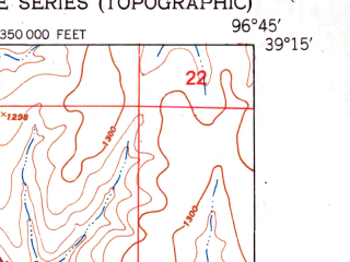 Reduced fragment of topographic map en--usgs--024k--015995--(1951)--N039-15-00_W096-52-30--N039-07-30_W096-45-00