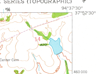 Reduced fragment of topographic map en--usgs--024k--016000--(1958)--N037-52-30_W094-45-00--N037-45-00_W094-37-30; towns and cities Fort Scott