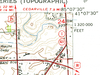 Reduced fragment of topographic map en--usgs--024k--016027--(1956)--N041-07-30_W085-15-00--N041-00-00_W085-07-30; towns and cities Fort Wayne