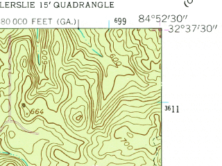 Reduced fragment of topographic map en--usgs--024k--016043--(1955)--N032-37-30_W085-00-00--N032-30-00_W084-52-30; towns and cities Bibb City